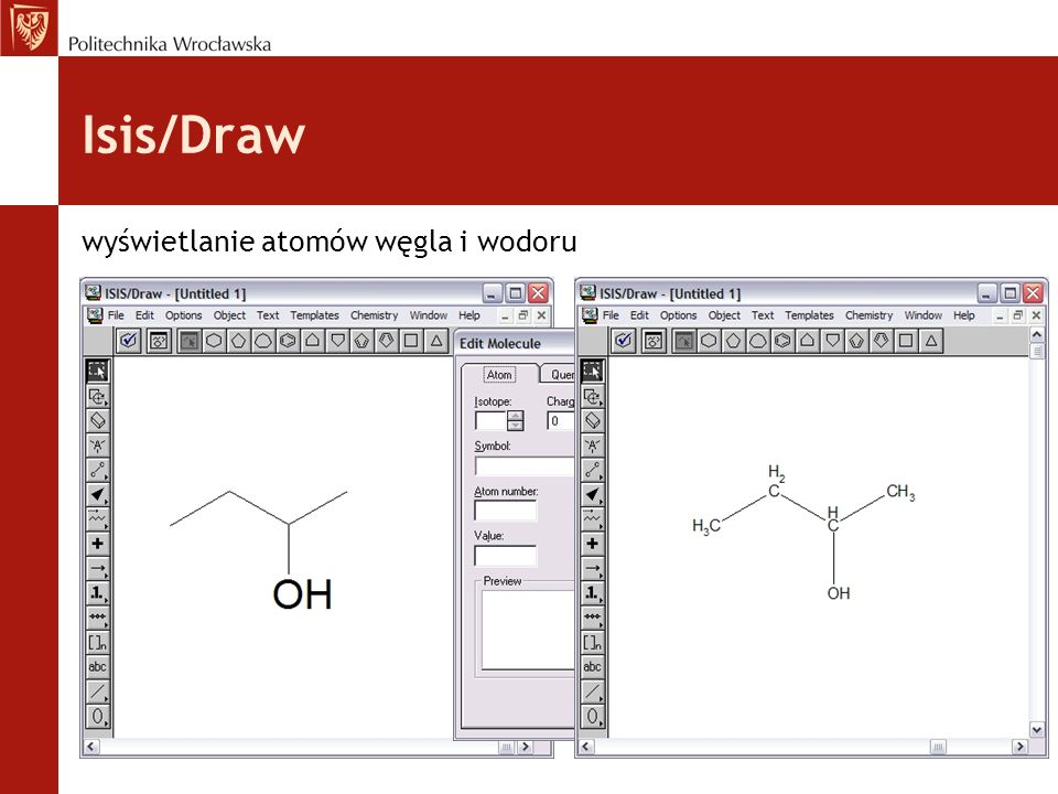 Isis/Draw wyświetlanie atomów węgla i wodoru