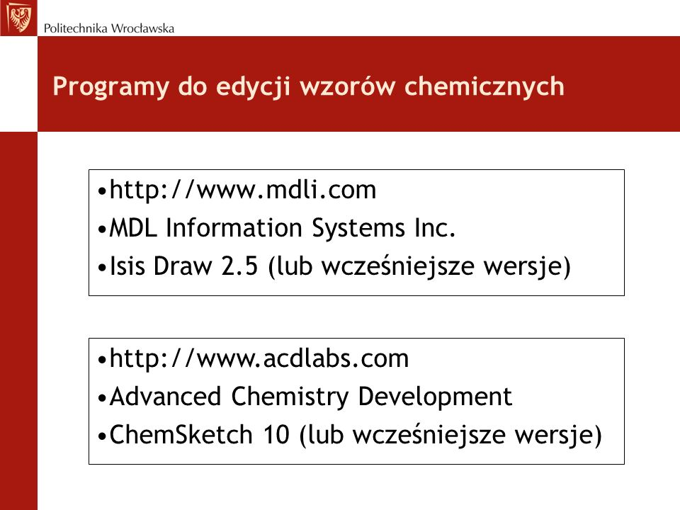 Programy do edycji wzorów chemicznych