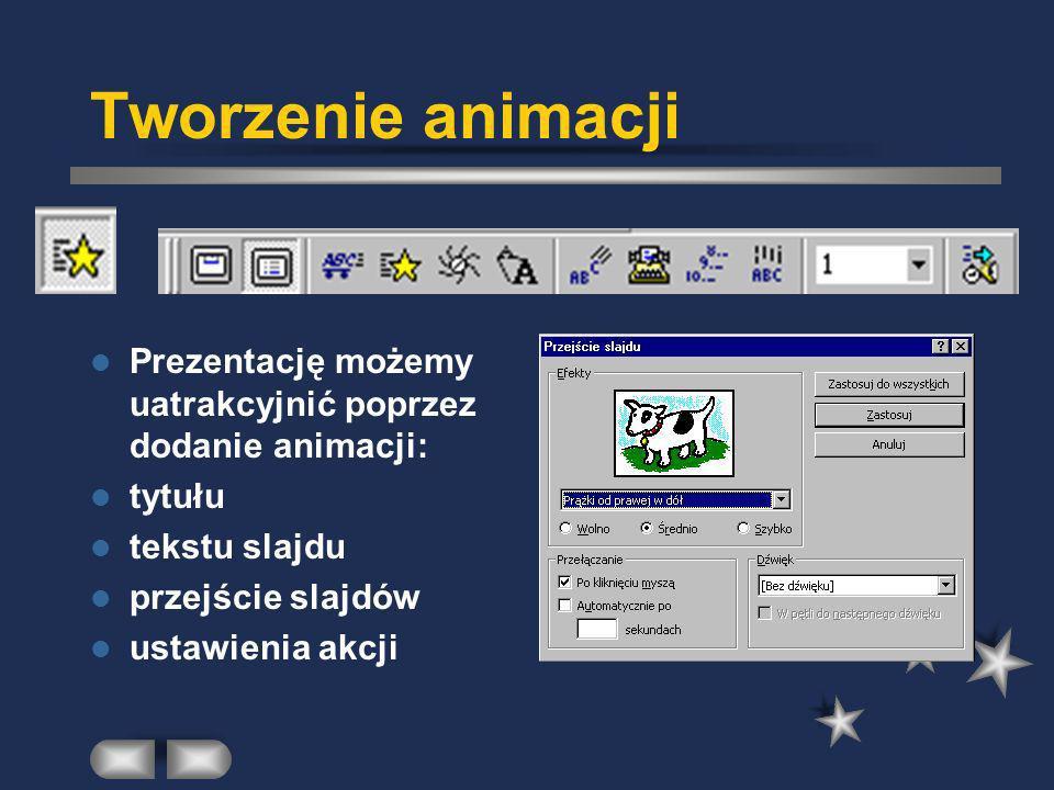 Tworzenie animacji Prezentację możemy uatrakcyjnić poprzez dodanie animacji: tytułu. tekstu slajdu.
