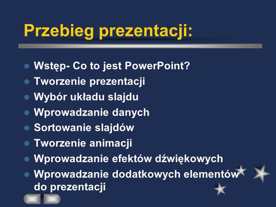 Przebieg prezentacji: