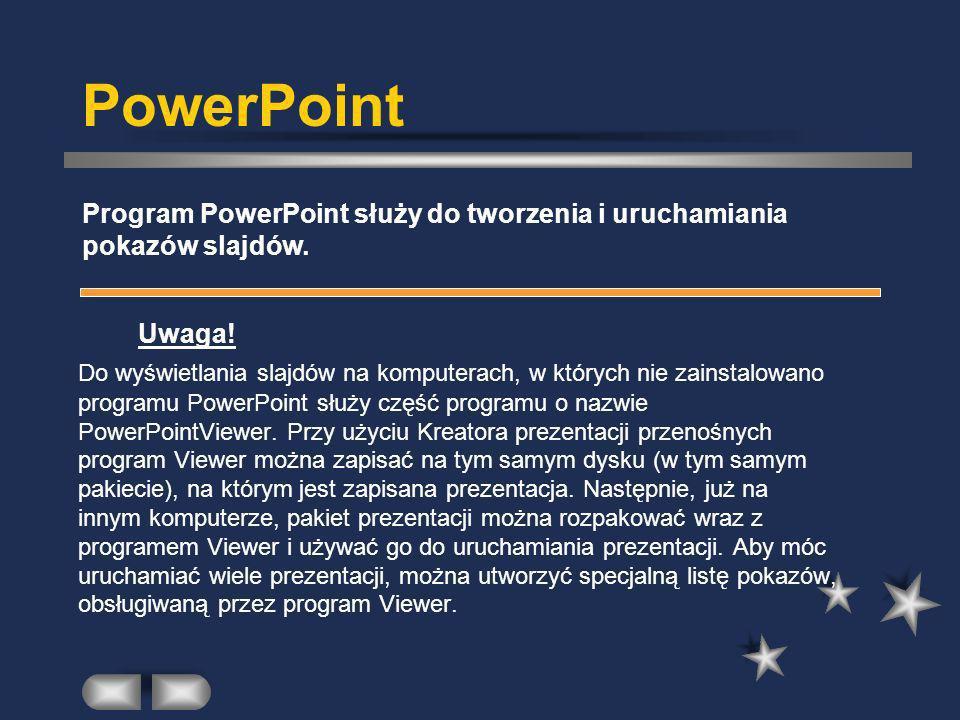 PowerPoint Program PowerPoint służy do tworzenia i uruchamiania pokazów slajdów. Uwaga!