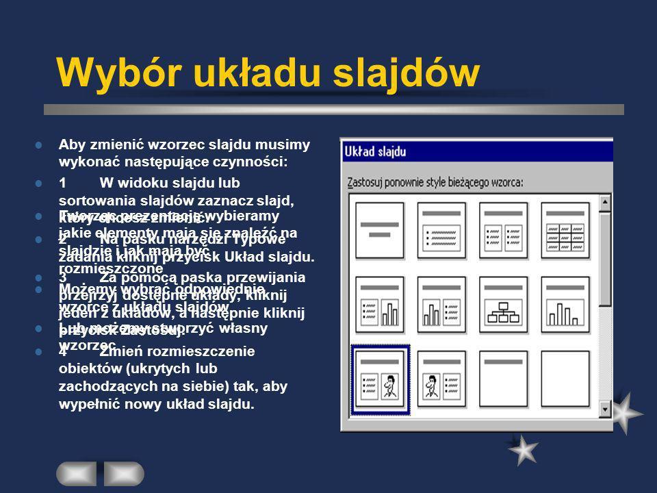 Wybór układu slajdów Aby zmienić wzorzec slajdu musimy wykonać następujące czynności: