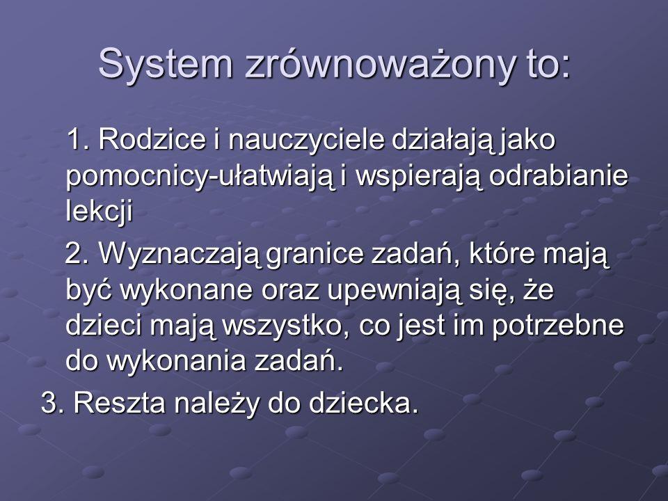 System zrównoważony to: