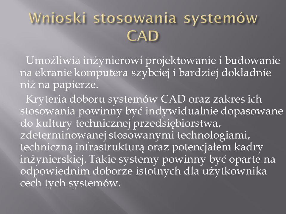 Wnioski stosowania systemów CAD