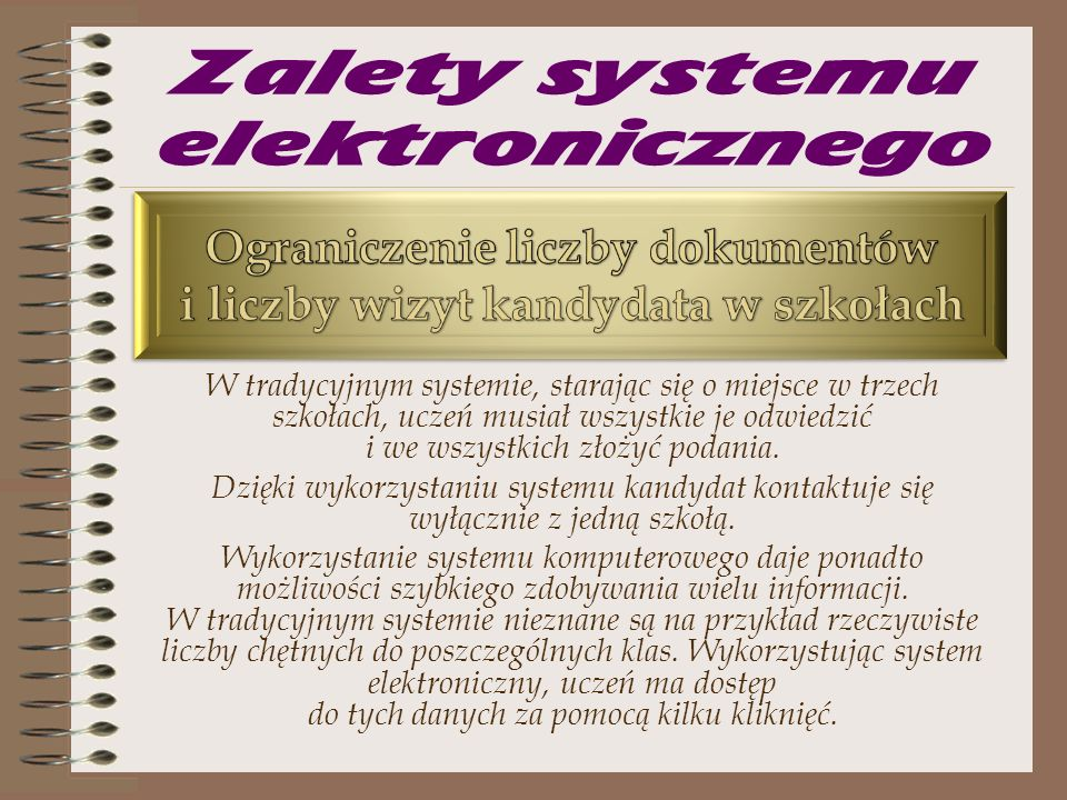 Zalety systemu elektronicznego