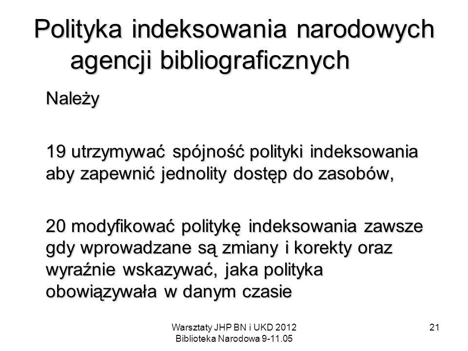 Polityka indeksowania narodowych agencji bibliograficznych