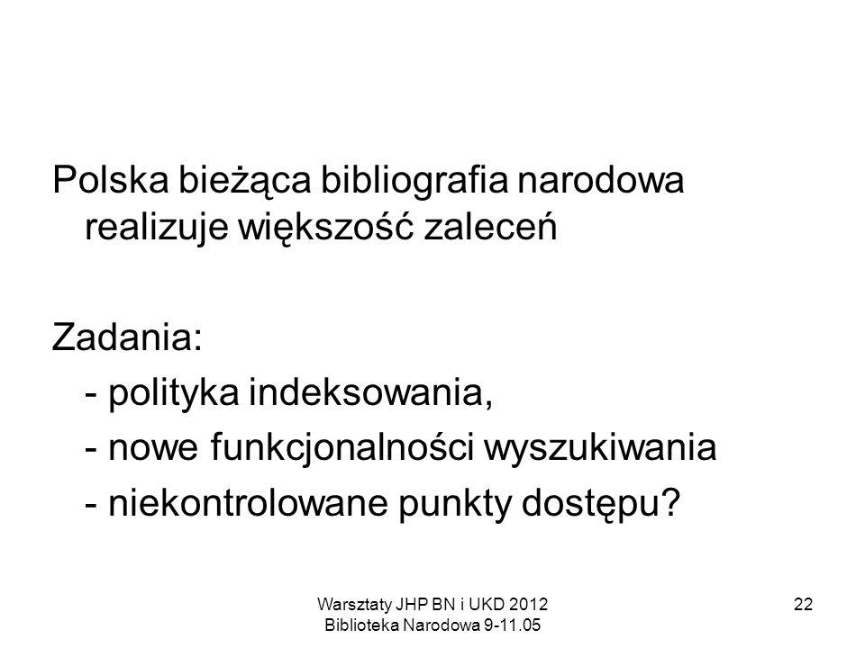 Warsztaty JHP BN i UKD 2012 Biblioteka Narodowa 9-11.05