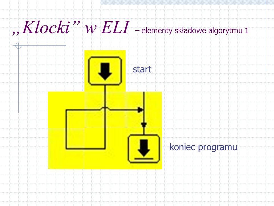 """""""Klocki w ELI – elementy składowe algorytmu 1"""