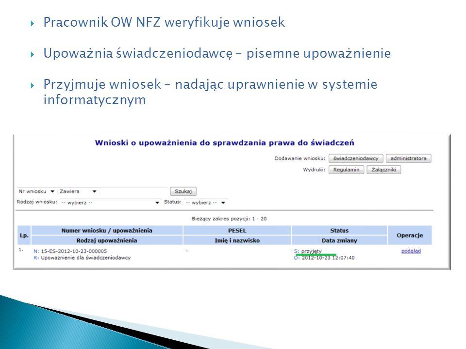 Pracownik OW NFZ weryfikuje wniosek