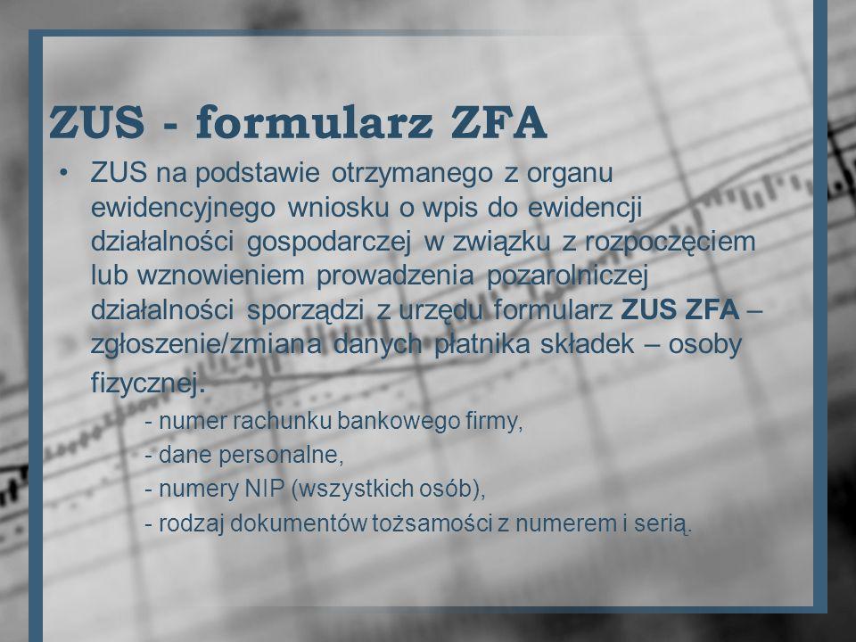 ZUS - formularz ZFA