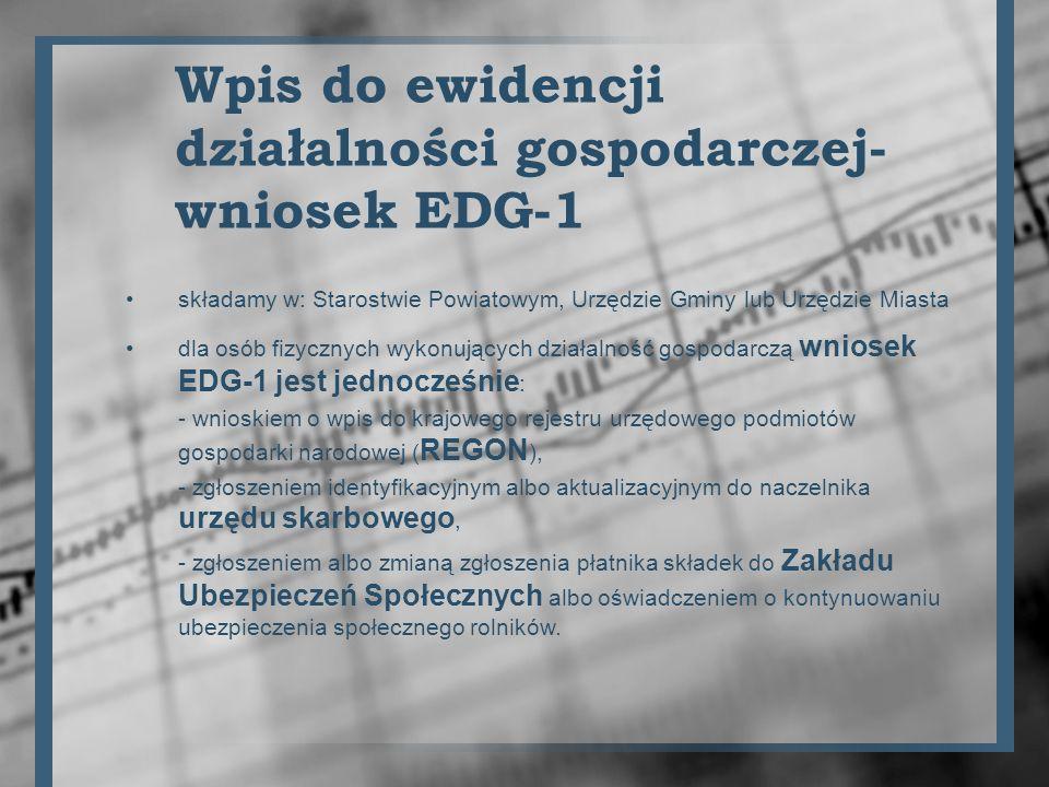 Wpis do ewidencji działalności gospodarczej-wniosek EDG-1
