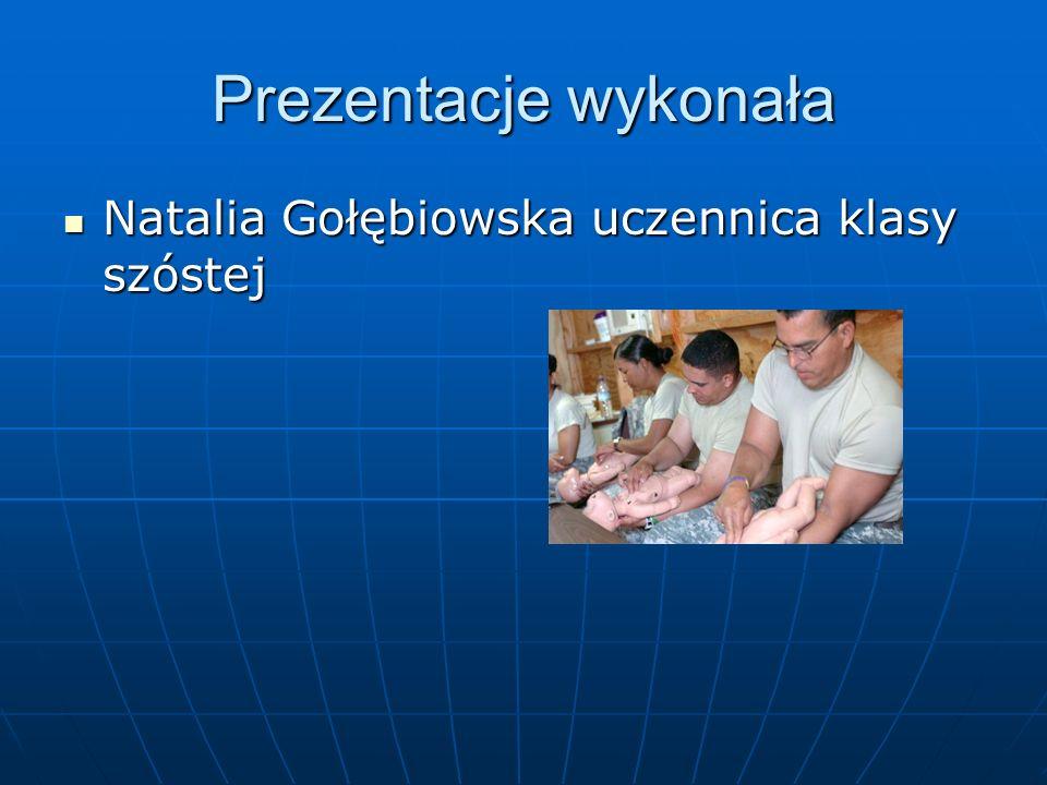 Prezentacje wykonała Natalia Gołębiowska uczennica klasy szóstej