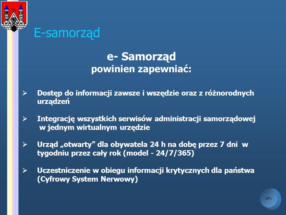 E-samorząd e- Samorząd powinien zapewniać: