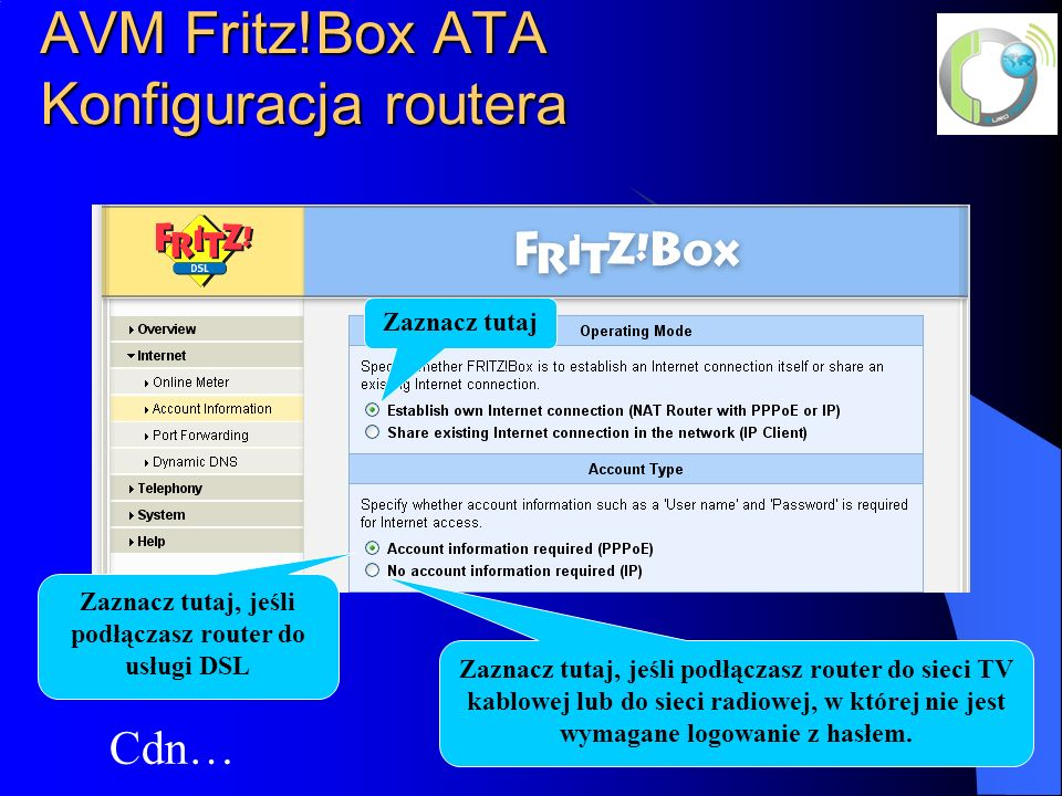 AVM Fritz!Box ATA Konfiguracja routera