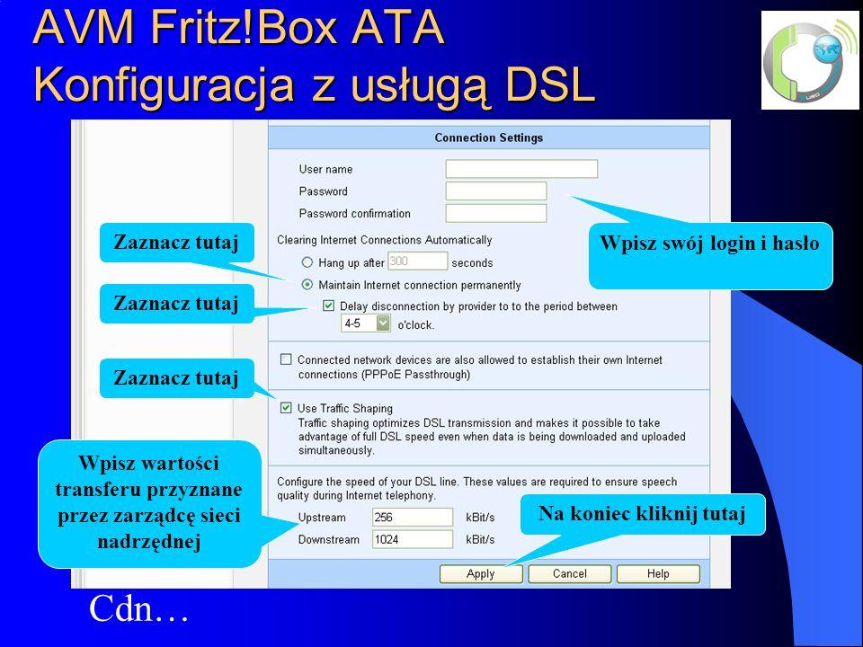 AVM Fritz!Box ATA Konfiguracja z usługą DSL