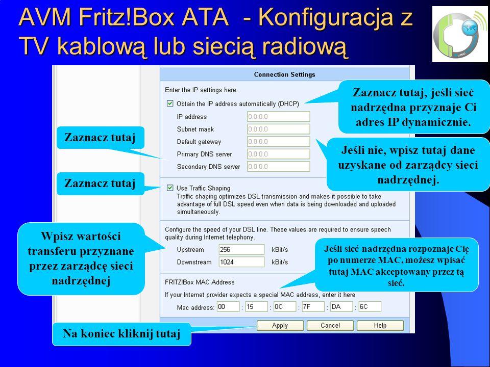AVM Fritz!Box ATA - Konfiguracja z TV kablową lub siecią radiową
