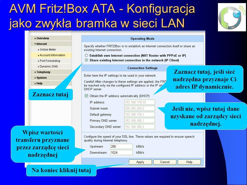 AVM Fritz!Box ATA - Konfiguracja jako zwykła bramka w sieci LAN
