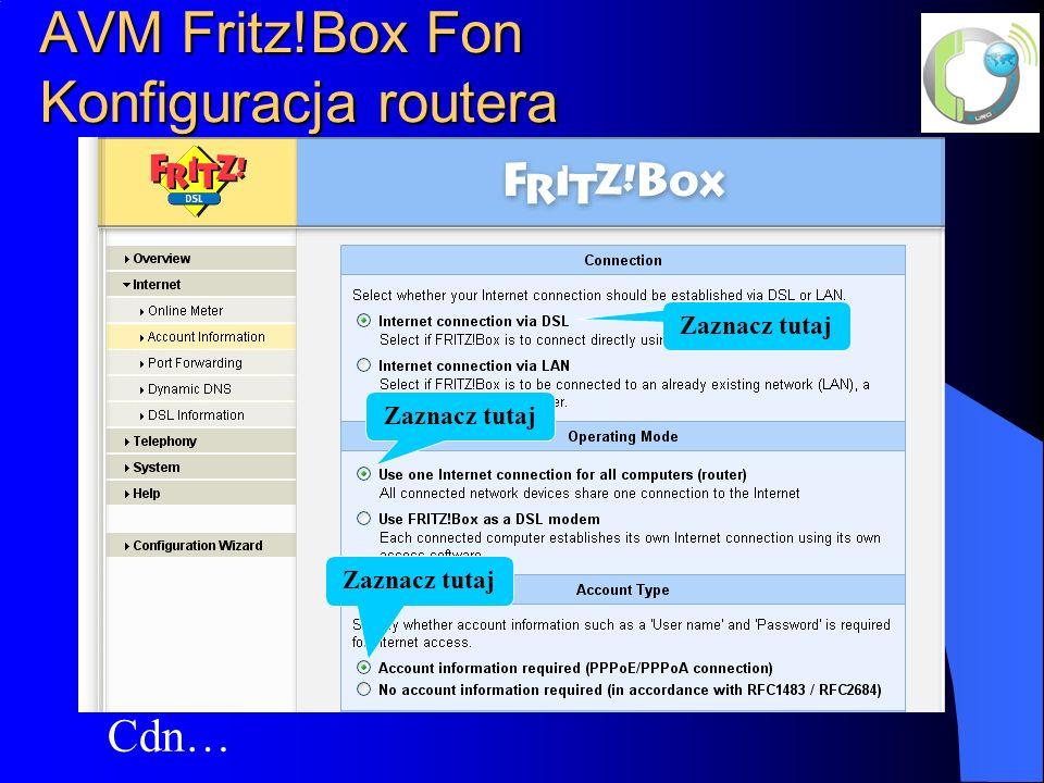 AVM Fritz!Box Fon Konfiguracja routera