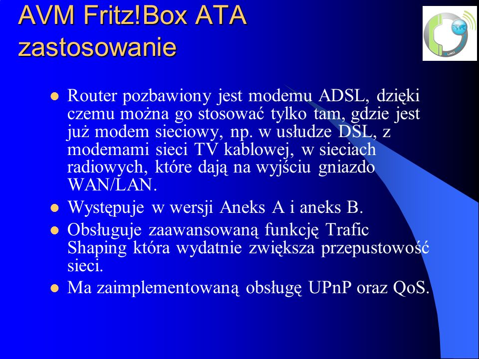AVM Fritz!Box ATA zastosowanie