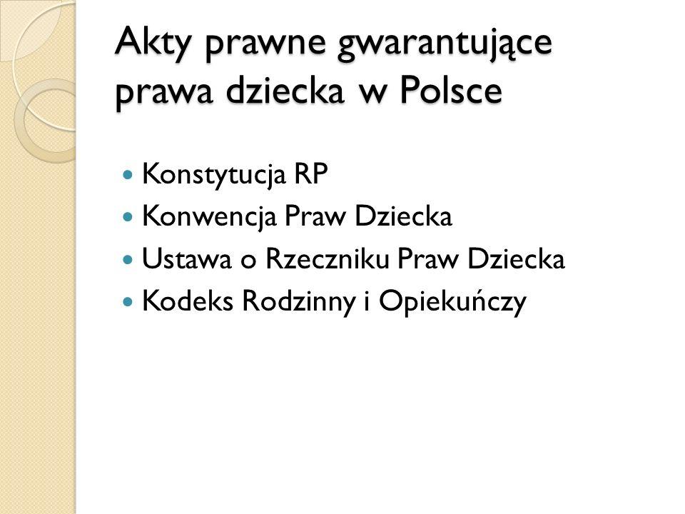 Akty prawne gwarantujące prawa dziecka w Polsce
