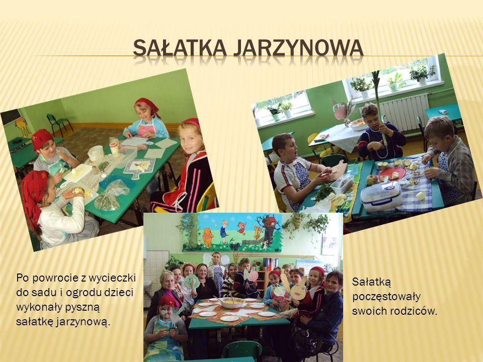 sałatka Jarzynowa Po powrocie z wycieczki do sadu i ogrodu dzieci wykonały pyszną sałatkę jarzynową.