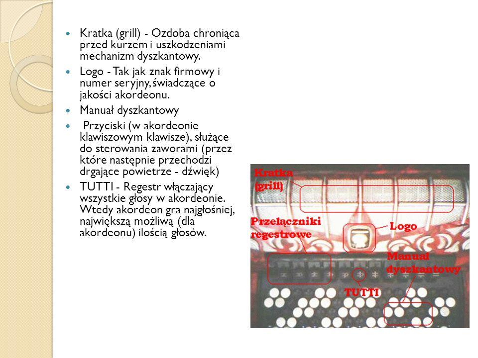 Kratka (grill) - Ozdoba chroniąca przed kurzem i uszkodzeniami mechanizm dyszkantowy.