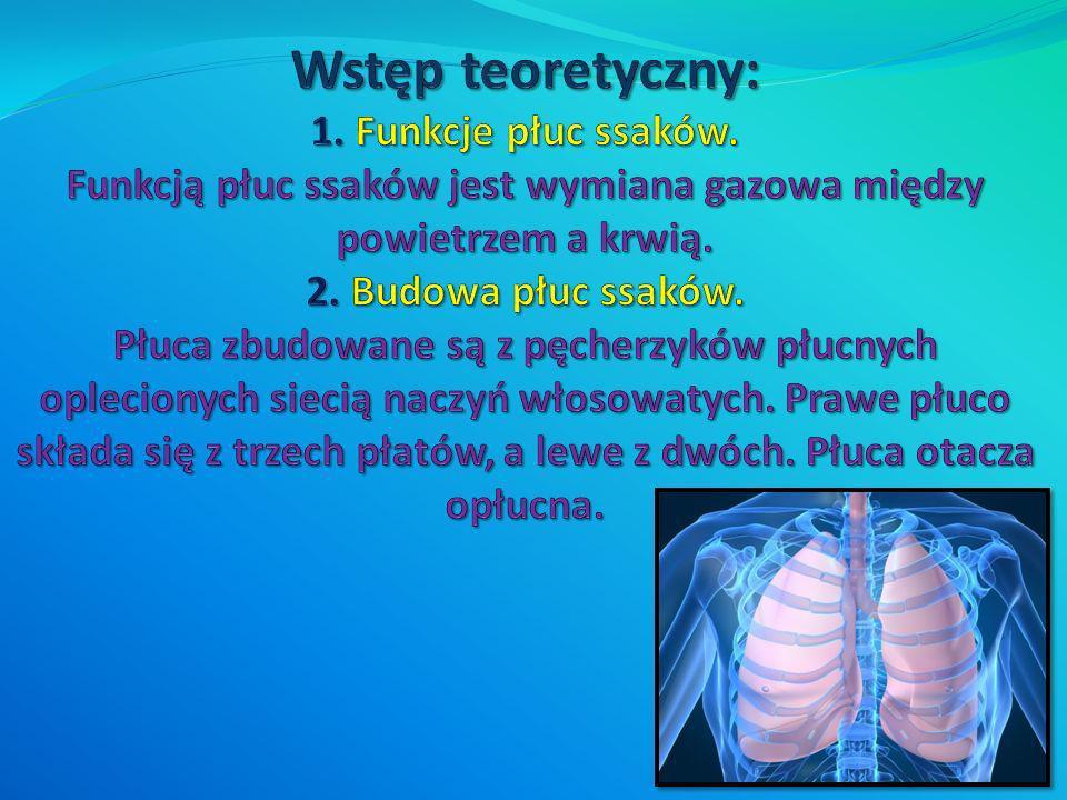 Wstęp teoretyczny: 1. Funkcje płuc ssaków