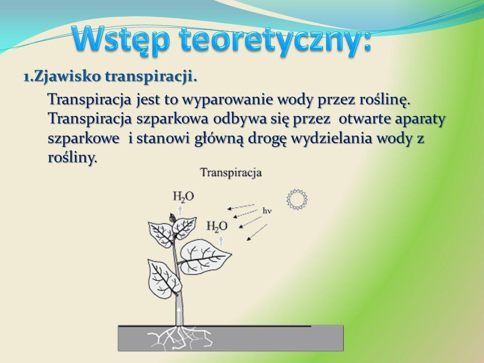 Wstęp teoretyczny: 1.Zjawisko transpiracji.