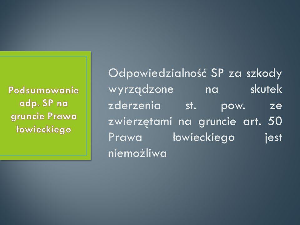 Podsumowanie odp. SP na gruncie Prawa łowieckiego