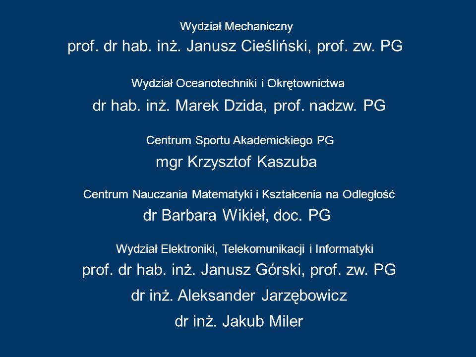 prof. dr hab. inż. Janusz Cieśliński, prof. zw. PG