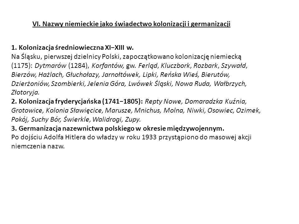 VI. Nazwy niemieckie jako świadectwo kolonizacji i germanizacji