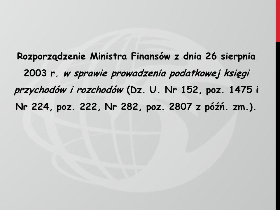 Rozporządzenie Ministra Finansów z dnia 26 sierpnia 2003 r
