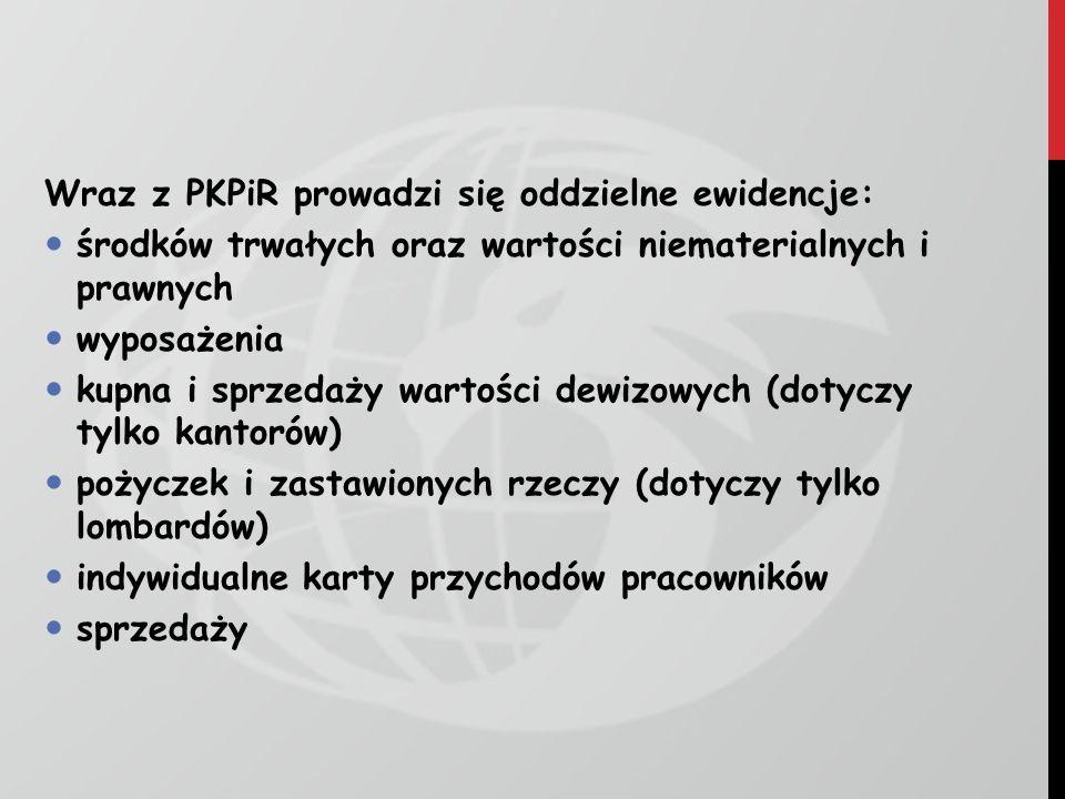 Wraz z PKPiR prowadzi się oddzielne ewidencje: