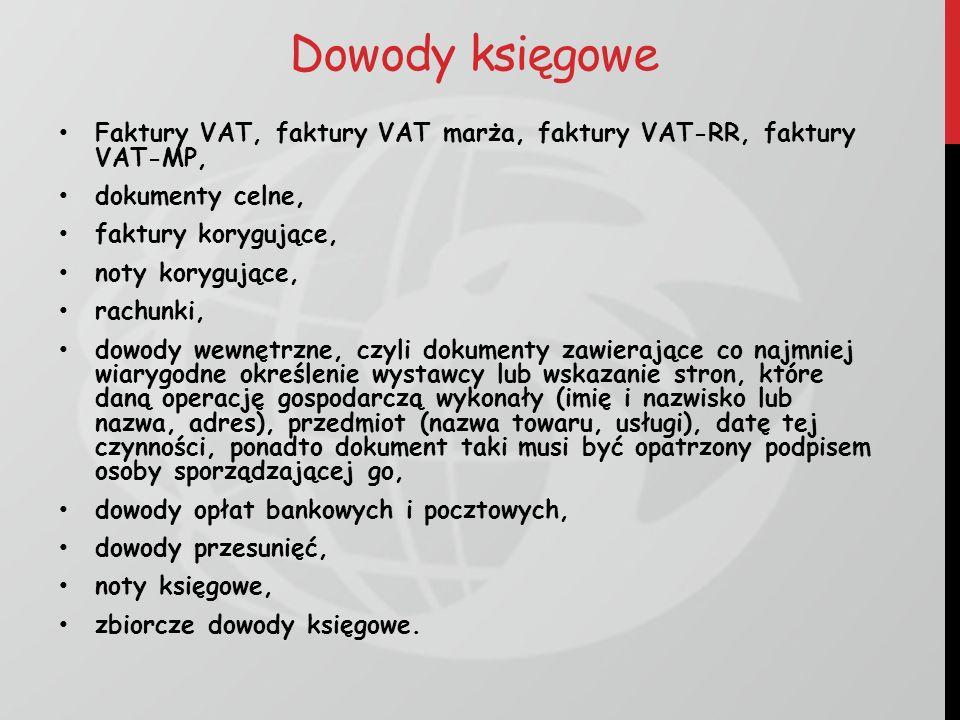 Dowody księgowe Faktury VAT, faktury VAT marża, faktury VAT-RR, faktury VAT-MP, dokumenty celne, faktury korygujące,