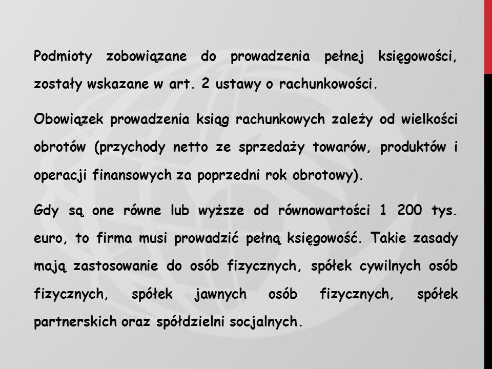 Podmioty zobowiązane do prowadzenia pełnej księgowości, zostały wskazane w art.