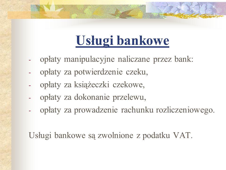 Usługi bankowe opłaty manipulacyjne naliczane przez bank: