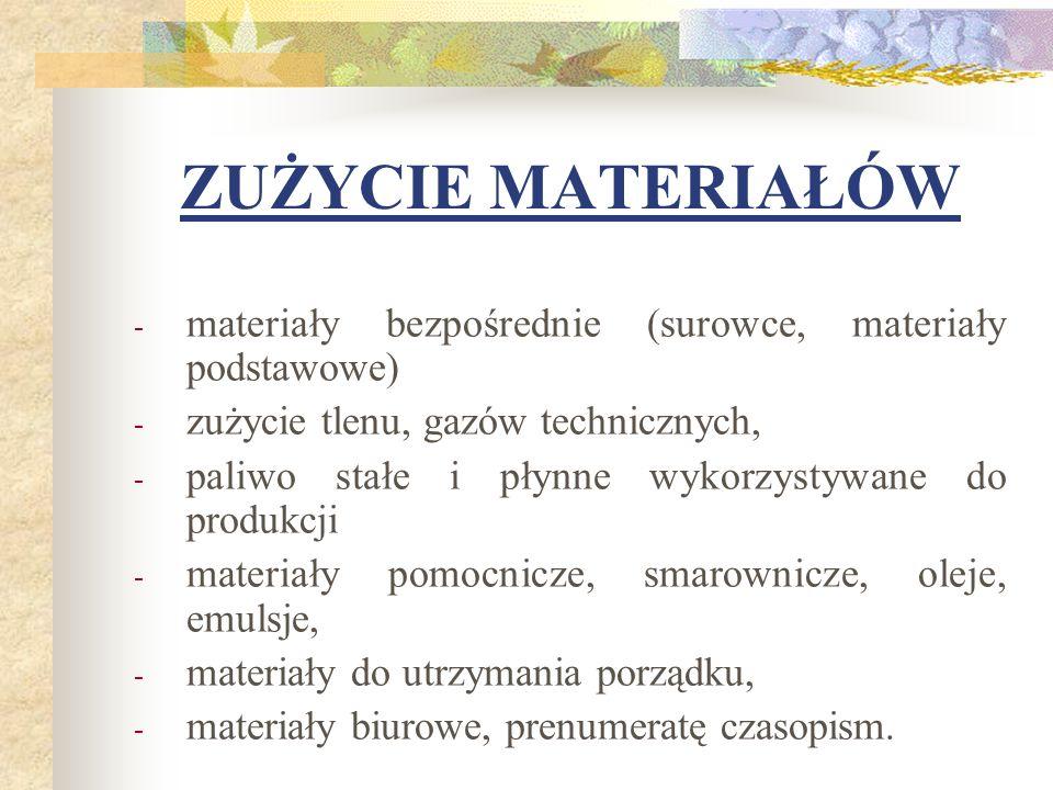 ZUŻYCIE MATERIAŁÓW materiały bezpośrednie (surowce, materiały podstawowe) zużycie tlenu, gazów technicznych,