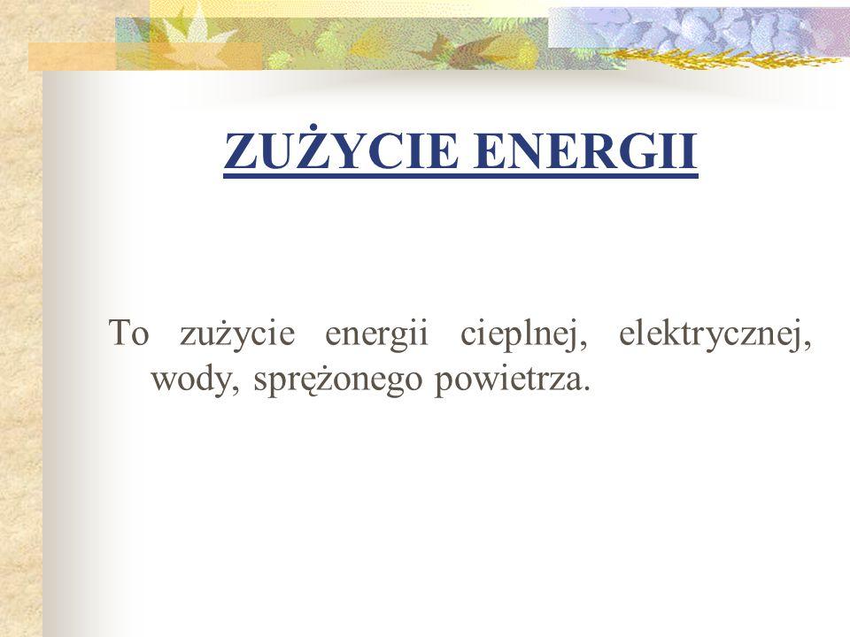 ZUŻYCIE ENERGII To zużycie energii cieplnej, elektrycznej, wody, sprężonego powietrza.