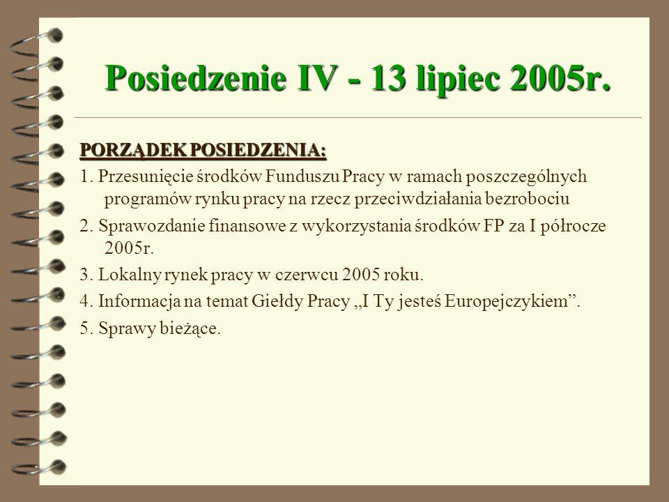 Posiedzenie IV - 13 lipiec 2005r.