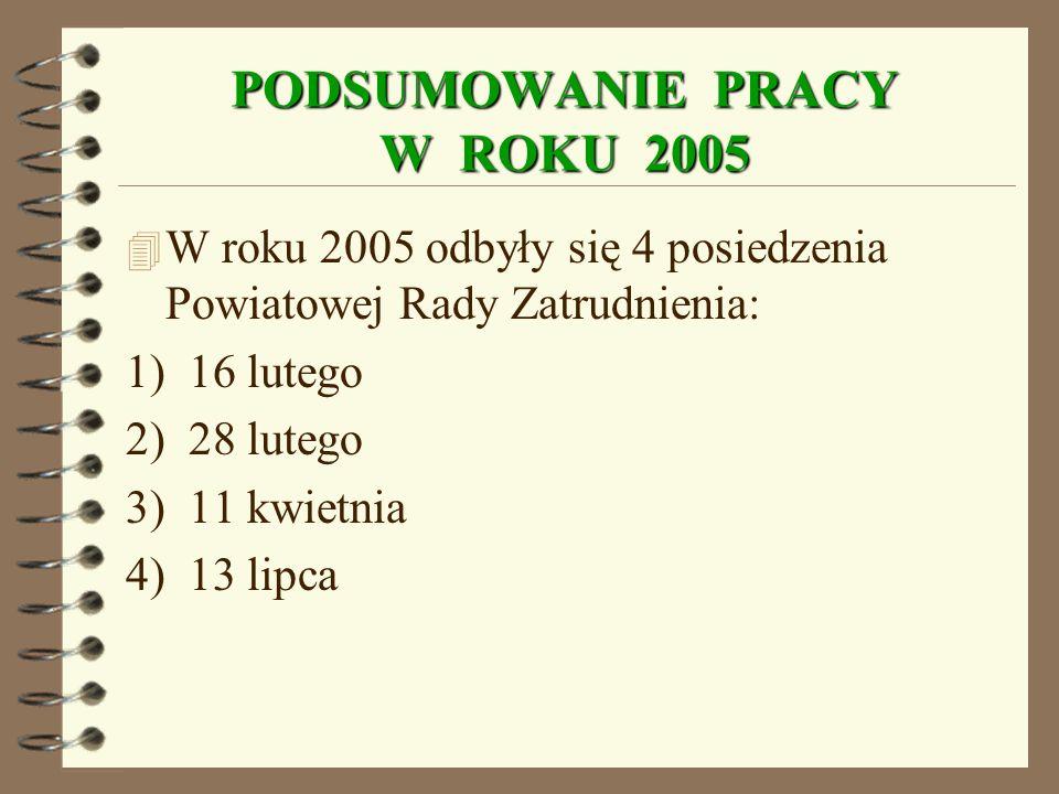 PODSUMOWANIE PRACY W ROKU 2005