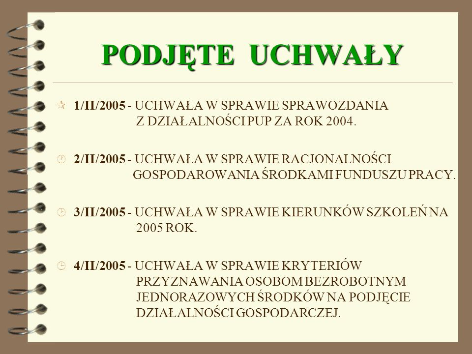 PODJĘTE UCHWAŁY 1/II/2005 - UCHWAŁA W SPRAWIE SPRAWOZDANIA Z DZIAŁALNOŚCI PUP ZA ROK 2004.