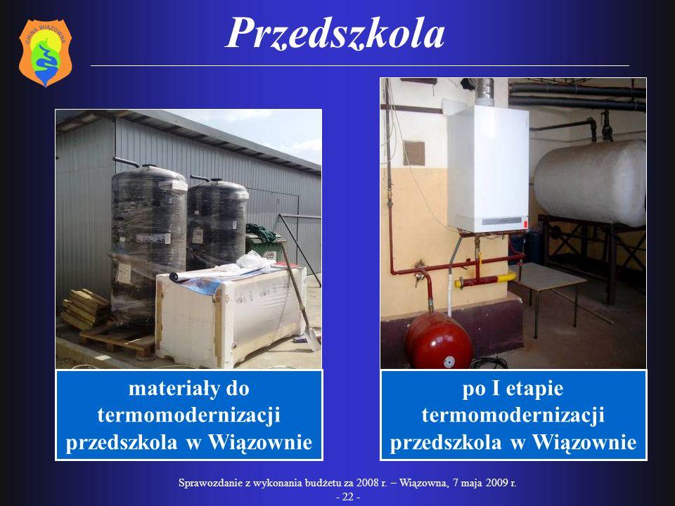 Przedszkola materiały do termomodernizacji przedszkola w Wiązownie