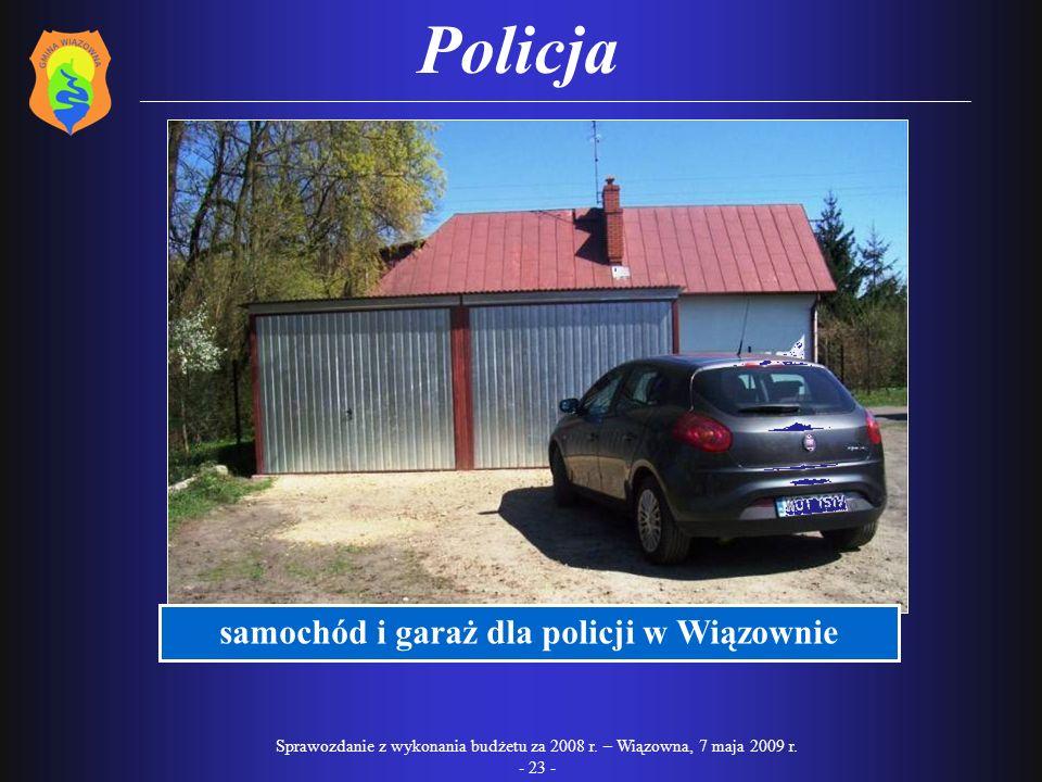 samochód i garaż dla policji w Wiązownie