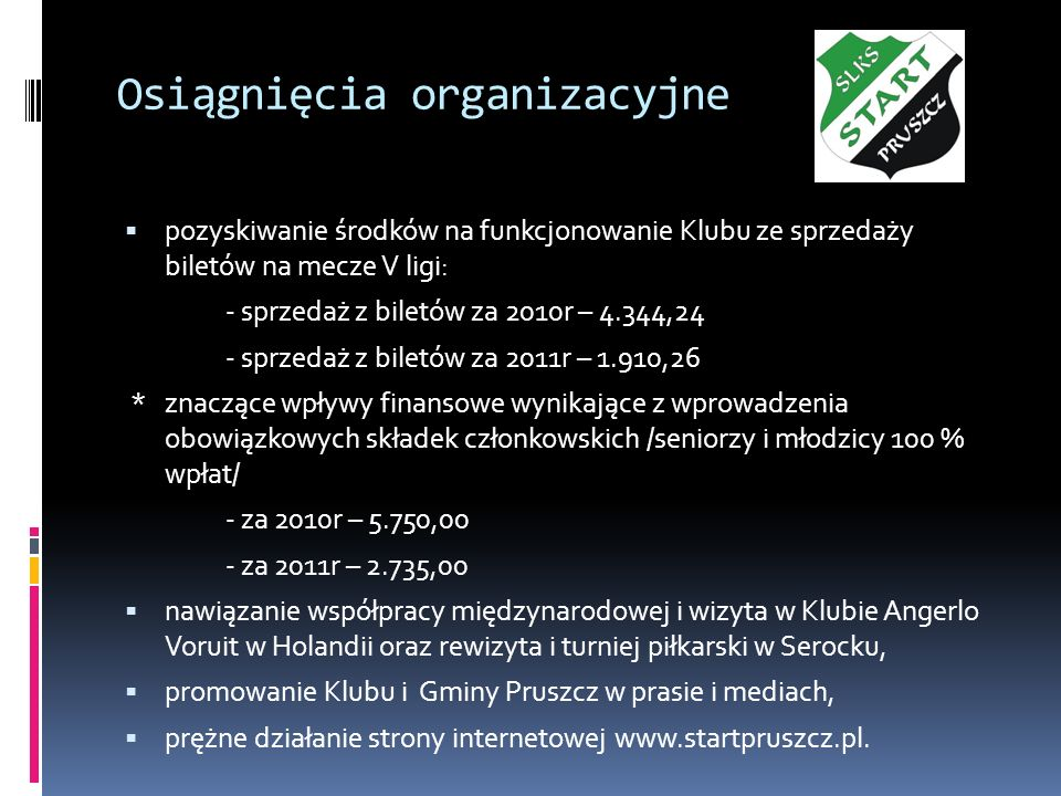 Osiągnięcia organizacyjne