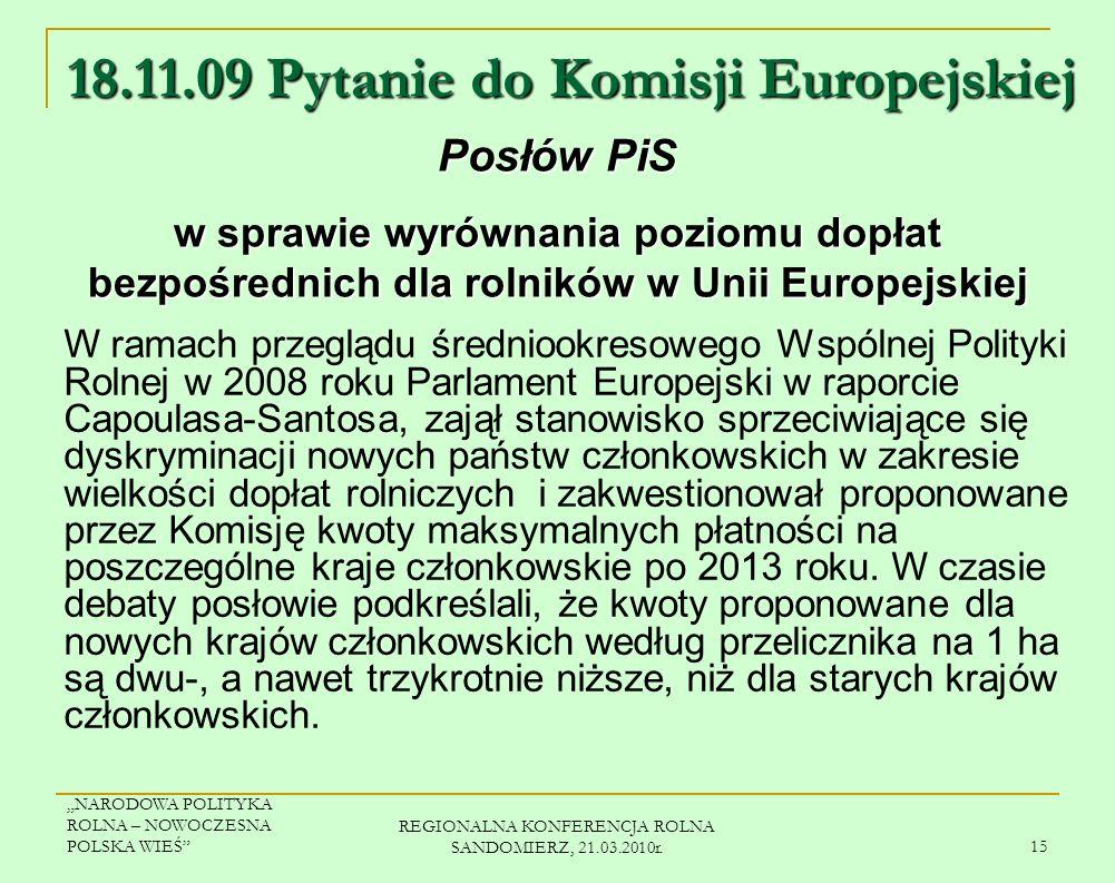 18.11.09 Pytanie do Komisji Europejskiej