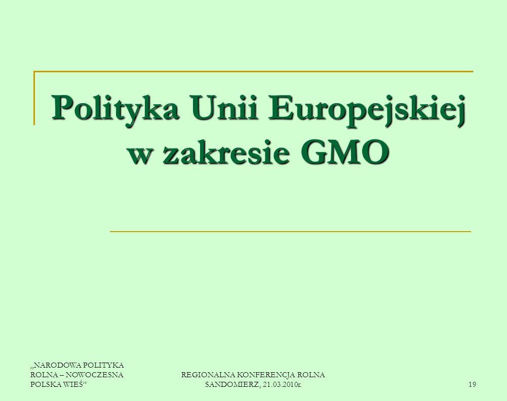 Polityka Unii Europejskiej w zakresie GMO