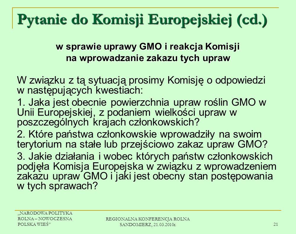 Pytanie do Komisji Europejskiej (cd.)