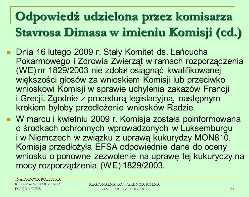 REGIONALNA KONFERENCJA ROLNA SANDOMIERZ, 21.03.2010r.