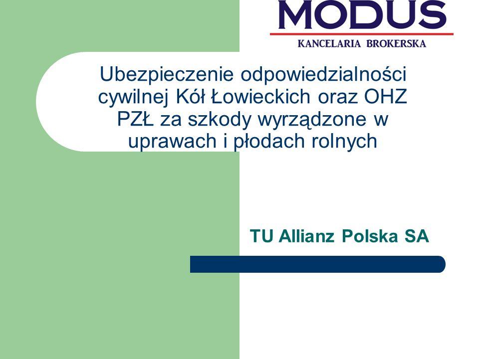 Ubezpieczenie odpowiedzialności cywilnej Kół Łowieckich oraz OHZ PZŁ za szkody wyrządzone w uprawach i płodach rolnych