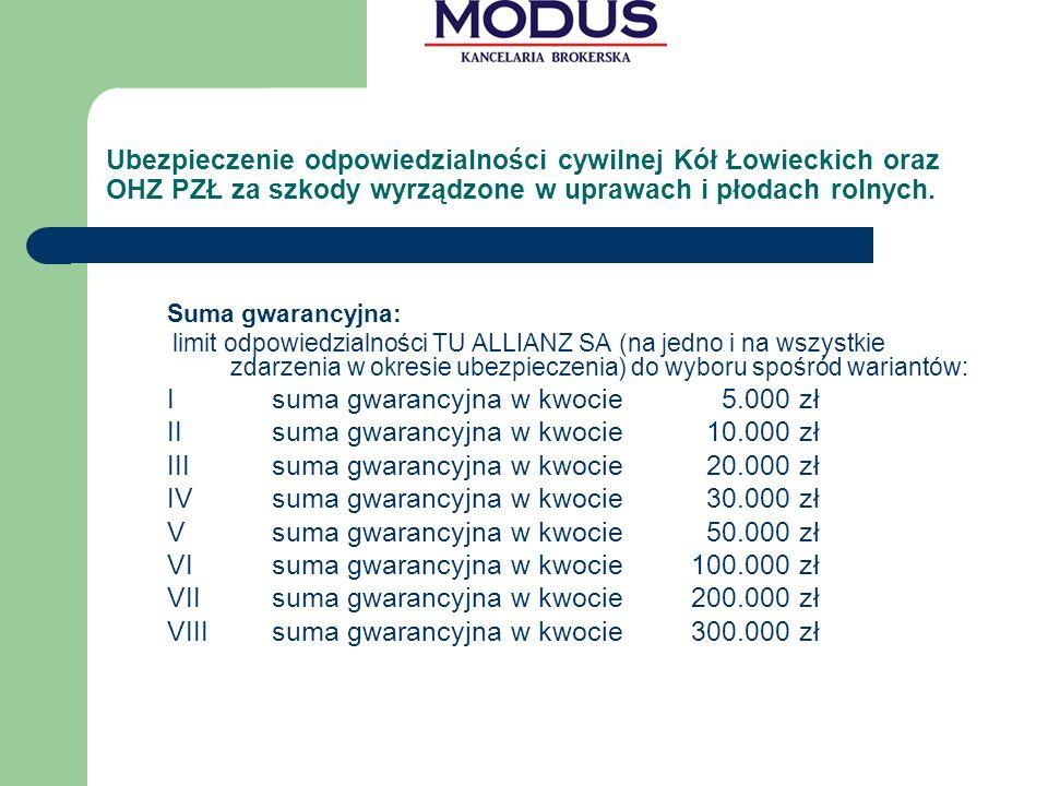 I suma gwarancyjna w kwocie 5.000 zł